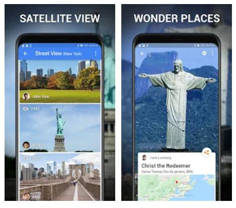 تطبيق ستريت فيو – خريطة الأرض لايف، GPS وخارطة الأقمار